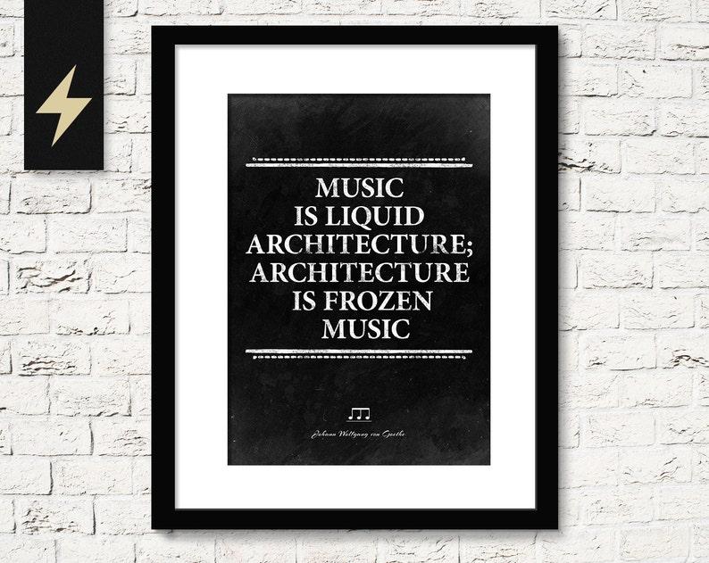 Music poster. Music is liquid architecture Goethe. image 0