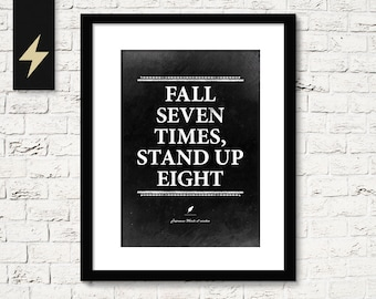 Motivational quote. Fall seven times, stand up eight. Inspirational decor. Quote art. Inspirational quotes. Office wall art. Printable