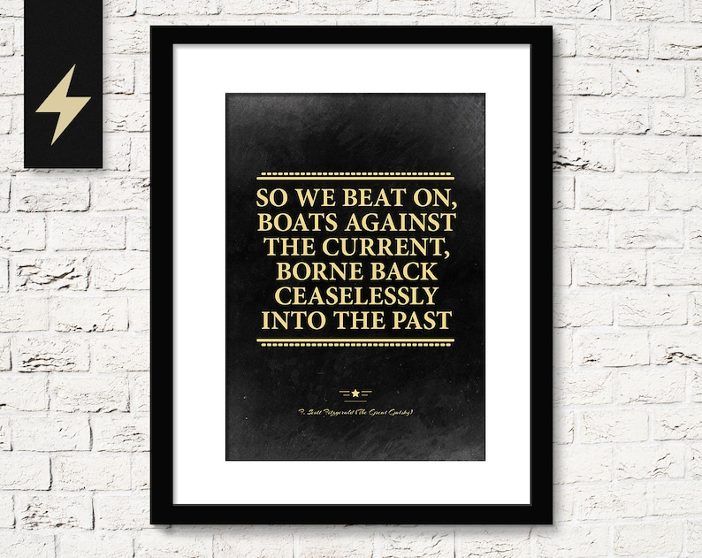 The Great Gatsby Poster Inspirational Quote Print Inspirational Home Decor Great Gatsby Poster F Scott Fitzgerald Quote Art Download