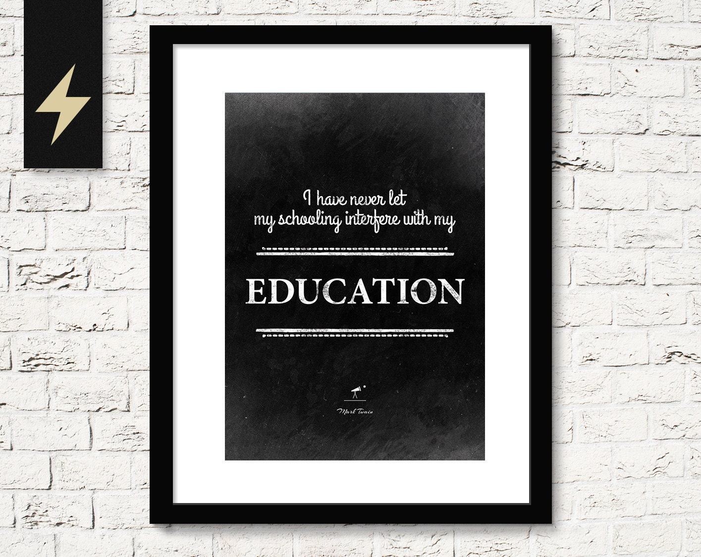 Mark Twain Sarcastic Quote On Education Inspirational Quote Etsy