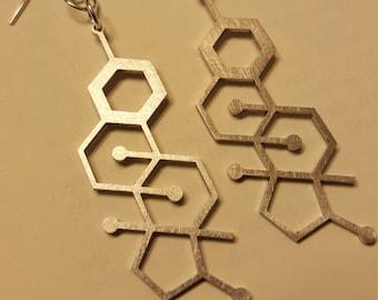 Laser Cut Estrogen Stainless Steel Molecule Earrings - Chemistry Earrings - Nerdy Gift for Her