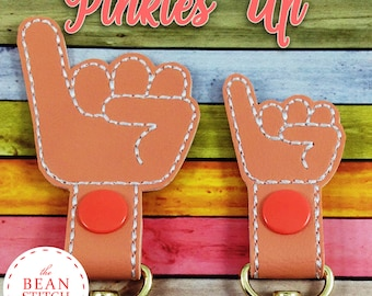 Pinkies Up - Two Sizes and BONUS Multis!  Embroidery Machine Download Design File