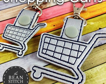 Shopping Carts SnapTab - Two Sizes and BONUS Multis!  Embroidery Machine Download Design File