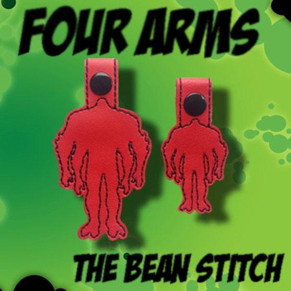 Fichier de broderie Machine téléchargement Design - Alien avec quatre bras SnapBean Key Fob, tirette, sac Tag