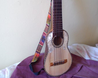 Charango - Genuine semi-professional quality 1 piece hand carved Andean stringed folk instrument - (comes with case, shoulder strap & book)