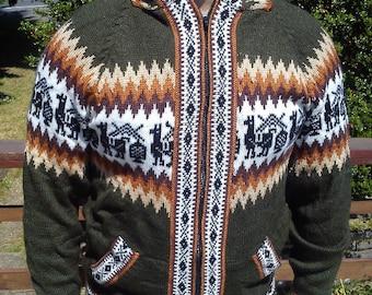 Colourful Alpaca Sweater Hoodie. Warm sweater Boho sweater Festival sweater.