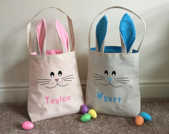 Super Cute Personalised Bunny Face & Ear Bag, Easter Bunny Bag, Easter Basket, Bunny Eared Bag, Jute Bag, Cotton Lined Bag