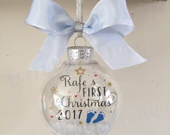 Baby's First Christmas Ornament 2018, Personalised Baby's 1st Christmas Bauble, New Baby Gift,