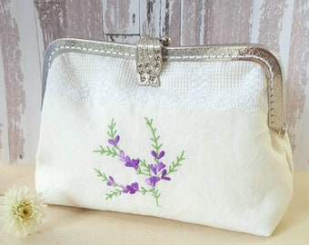 Floral Clutch Purse ~ Evening Handbag ~ Metal Frame Clasp Purse ~ Vintage Clutch ~ Upcycled Purse ~ Embroidered Purse ~ Mother Gift ~ #HB002