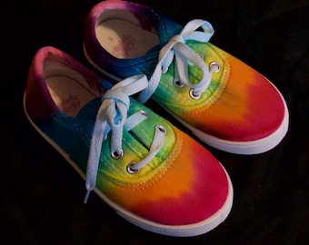 9ab48086a07b02 Tie-Dye Rainbow Toddler Shoes Size 9 Hand Dyed Lace Up Tennis Shoes Canvas