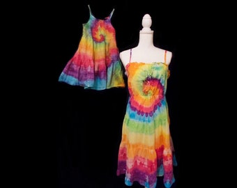 439a1054c79 Tie-Dye Mommy and Me Dresses Spaghetti Strap Women s Medium Toddler 5T Ice-Dyed  Rainbow Splatter Hand Dyed Old Navy Cotton