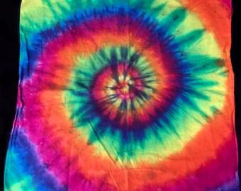 4eba28f765566 Tie-Dye Bandana Do-Rag Handkerchief Rainbow Hand Tie Dyed Spiral Cotton