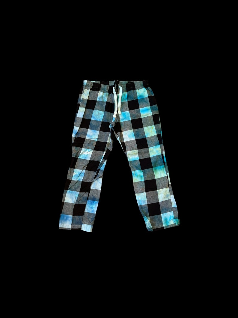 Tie-Dye Unisex Pajama Flannel Pants Size XL Ice-Dyed Hand Dyed Blue Pajamas Old Navy