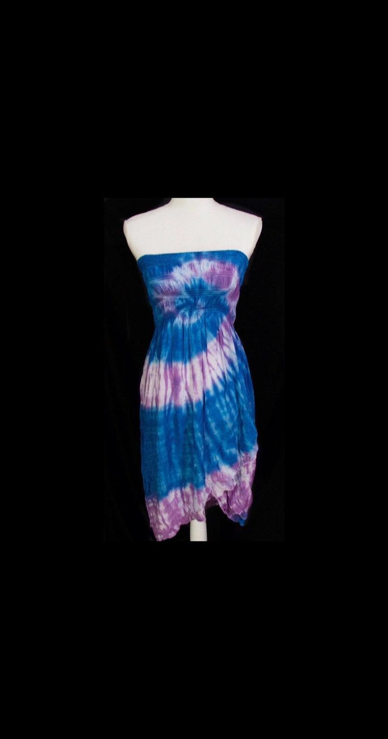 2549d552b03 Tie-Dye Women's Strapless Convertible Dress Size Medium   Etsy