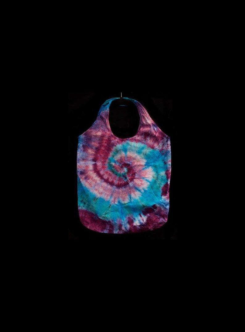 Reusable Shopping Grocery Market Bag Stuffable Ice-DyeTie-Dye Purple Teal Lavender Spiral Eco Friendly
