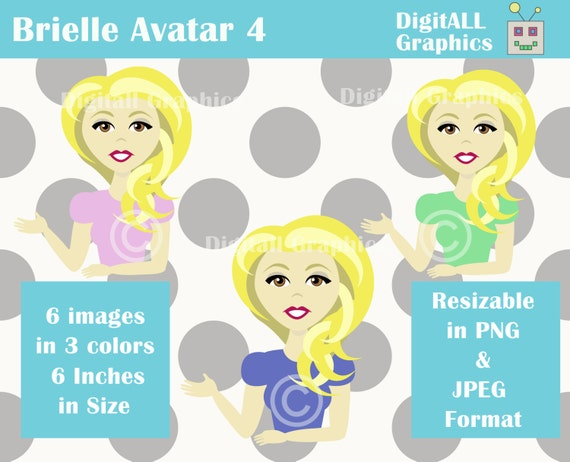Profile Image Character With Blonde Hair And Brown Eyes Etsy