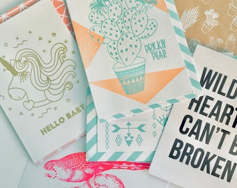 77 Wild hearts collection of hand screenprinted cards