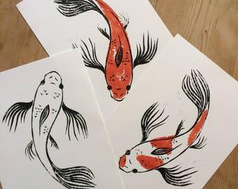 Koi Lino Print (A4)