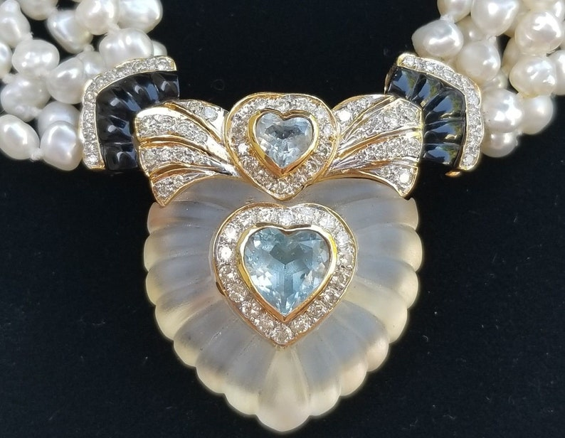40773595f938e 18k Yellow Gold Topaz Onyx Diamond Rock Crystal Heart Pendant  Necklace/Pearl Necklace