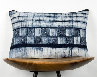 "Acton | 12""x18"" Handmade Indigo Asian Batik Lumbar Pillow Cover 