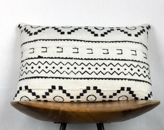 "Ellis | 12""x18"" Handmade Ivory & Black Mudcloth Lumbar Pillow Cover 