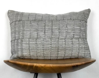 "Juliet | 12""x18"" Handmade Gray Aso Oke Lumbar Pillow Cover 