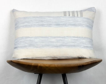 "Addie | 12""x18"" Handmade Striped Aso Oke Lumbar Pillow Cover 