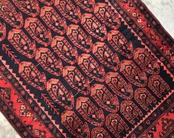 "Luna   3'5""x4'10"" Vintage Handwoven Persian Rug   Kitchen Rug   Bathroom Rug   Entry Rug"
