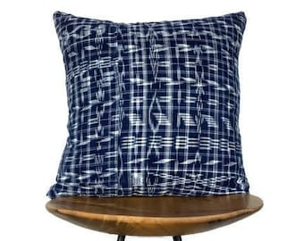 "Arabella | 18""x18"" Handmade Indigo Guatemalan Ikat Pillow Cover | Pillow Case"