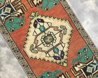 "Fern | 1'5""x3'1"" Tiny Vintage Turkish Rug | Door Mat | Entry Mat | Bath Mat | Kitchen Rug"