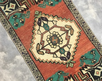 "Fiona | 1'4""x3'2"" Tiny Vintage Turkish Rug | Door Mat | Entry Mat | Bath Mat | Kitchen Rug"