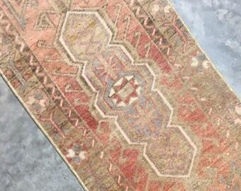 "Cora | 1'6""x4' Tiny Vintage Turkish Rug | Door Mat | Entry Mat | Bath Mat | Kitchen Rug"