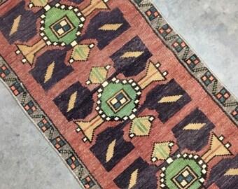 "Fleur | 1'4""x2'7"" Tiny Vintage Turkish Rug | Door Mat | Entry Mat | Bath Mat | Kitchen Rug"