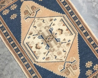"Dulcinea | 1'8""x3'2"" Tiny Vintage Turkish Rug | Door Mat | Entry Mat | Bath Mat | Kitchen Rug"