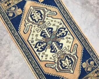 "Augustus | 1'8""x3'4"" Tiny Vintage Turkish Rug | Door Mat | Entry Mat | Bath Mat | Kitchen Rug"