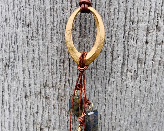 Handmade Bronze Organic Hammered Oval Leather Adjustable Long Lariat Necklace with Variegated Labradorite Cluster