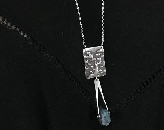 Sterling Silver Long Tree Necklace with Labradorite Drop