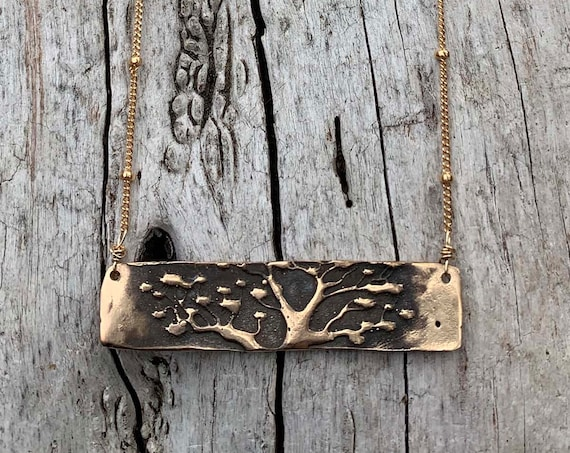 Gold Fill Tree Bar Necklace