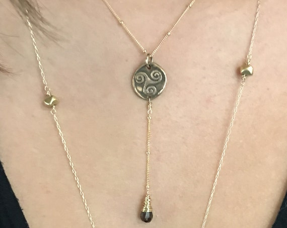 Handmade Gold Fill Triple Spiral Charm Lariat Delicate Necklace with Smokey Quartz Drop