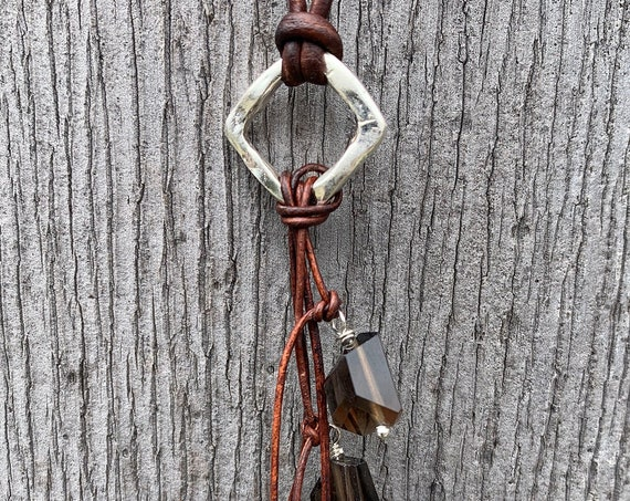 Handmade Organic Silver Diamond Leather Adjustable Lariat Necklace with Variegated Smokey Quartz Cluster