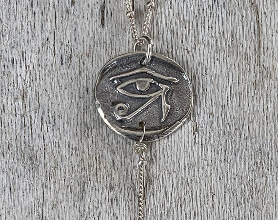 Handmade Sterling Silver Eye of Ra Charm Lariat Delicate Necklace with Tourmaline Drop