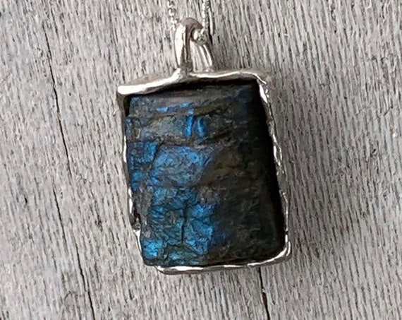Sterling Silver Organic Raw Labradorite Rectangular Necklace with Cast Bezel