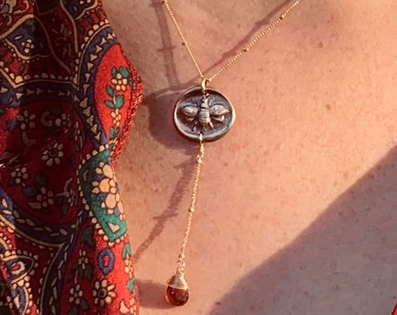 Handmade 14K Gold Fill Bee Charm Lariat Necklace with Pink Tourmaline Drop