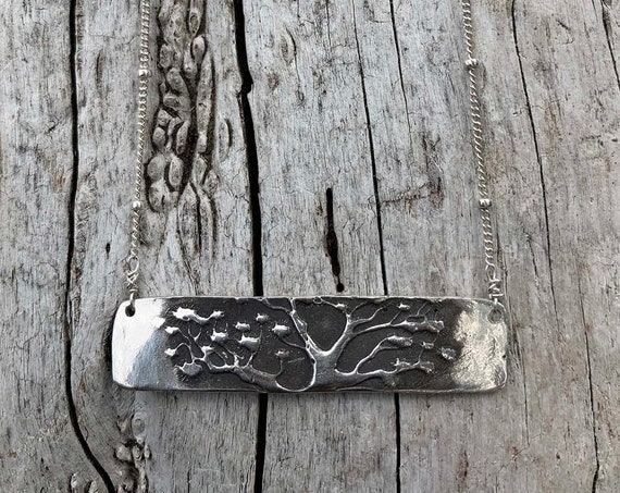 Sterling Silver Tree Bar Necklace