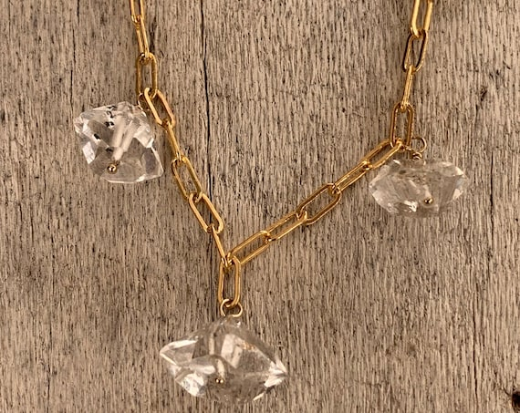 Handmade Variegated Five Herkimer Diamond Necklace on 14K GF Paper Clip Chain