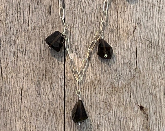 Handmade Variegated Five Bead Smokey Quartz Necklace on 14K GF Paper Clip Chain