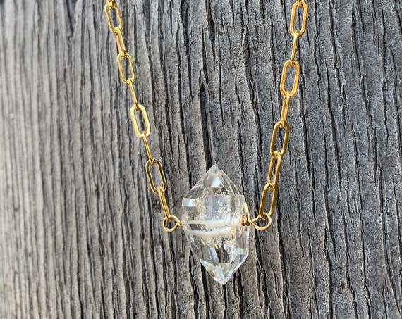 Handmade Single Herkimer Diamond Necklace on 14K GF Paper Clip Chain