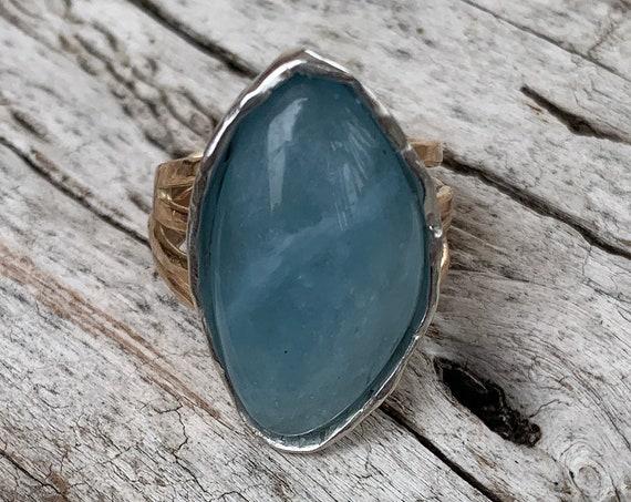 Handmade Mixed Metal Freeform Aquamarine Wrap Style Ring