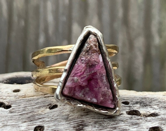 Handmade Mixed Metal Triangular Pink Tourmaline Druzy Wrap Style Ring