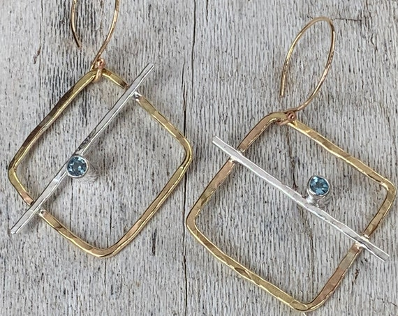 Mixed Metal Square Aquamarine Tube Set Earrings